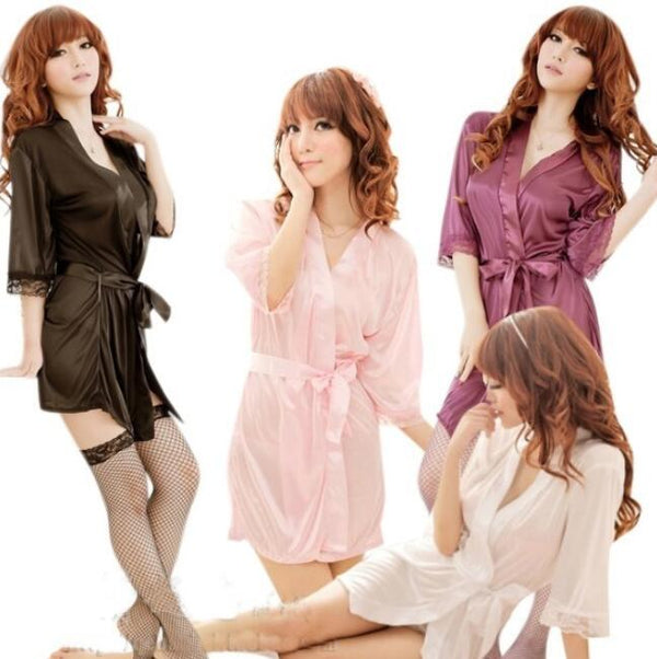 Fits Women's robe Sexy pajamas ice silk night dress