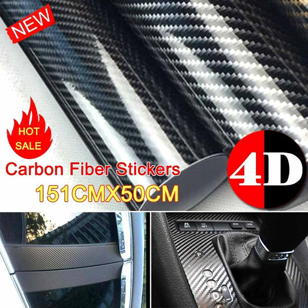 50cm x1.51M 4D Gloss Carbon Fibre Fiber Vinyl Car Wrap Air Release Film Black