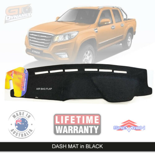 Black Dash Mat fits Great Wall STEED NBP Dual Cabs 7/2016-2020 AIRBAG DM1485