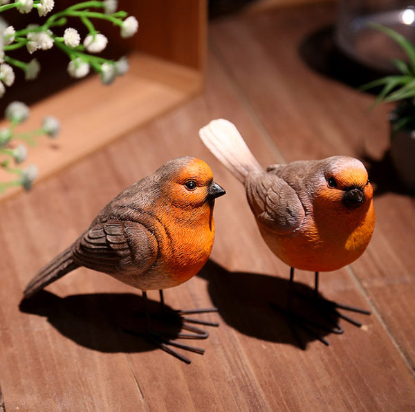 FITS Pair Large Wren Male & Female Bird Garden Ornament Figurine Animal
