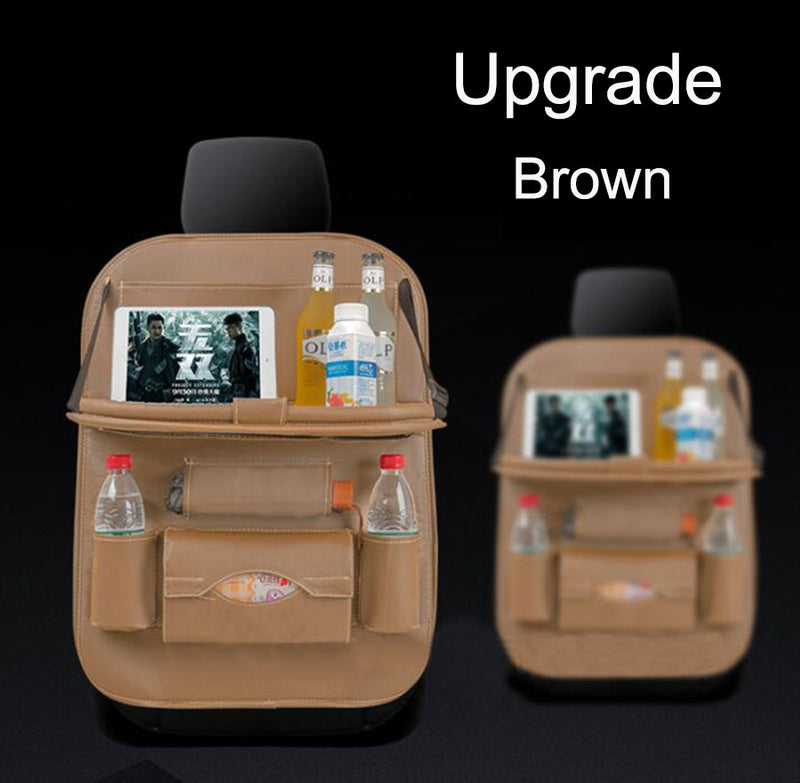1pcs Brown Car Seat Back Organiser Storage Bag Foldable Table Tray Cup Holder