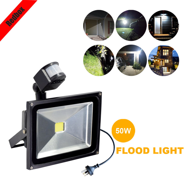 LED Floodlight 50W Motion Sensor Garage Driveway Garden Security Outdoor 50W