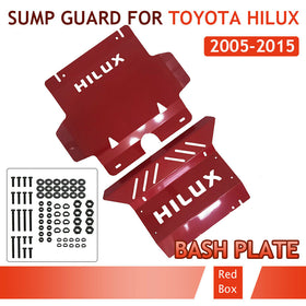 Bash Plate Sump Guard 3mm for Toyota Hilux 2005-2015 2pc Red Powder Coated