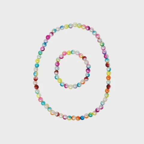 Rainbow Pearl Necklace and Bracelet Set