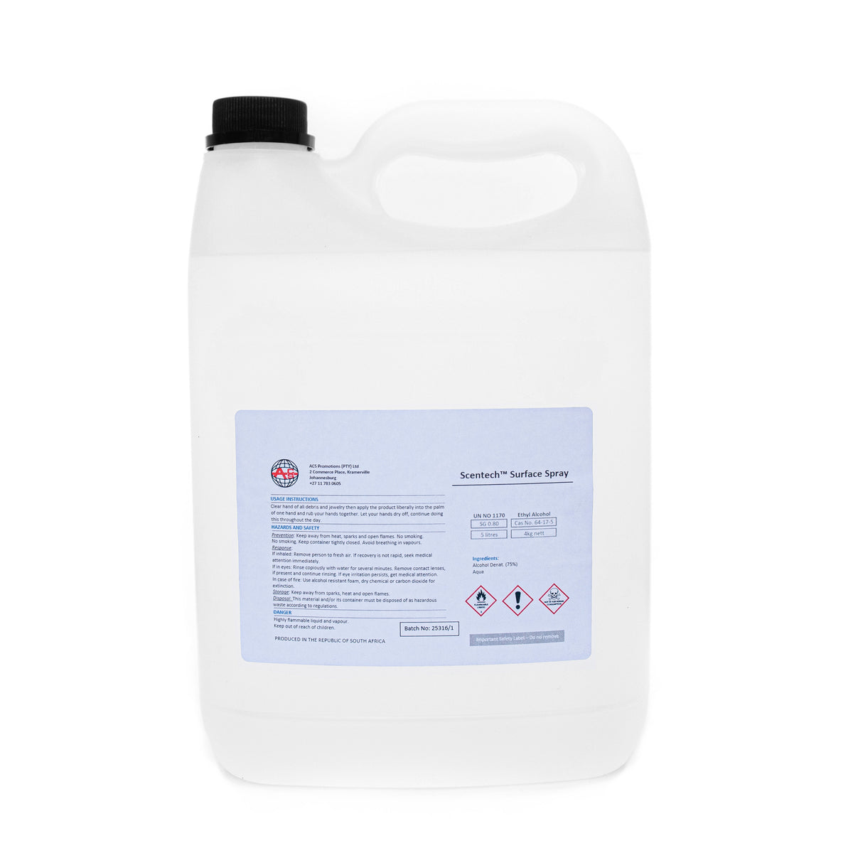 Scentech 75% Alcohol Surface Cleaner - 5l Refil