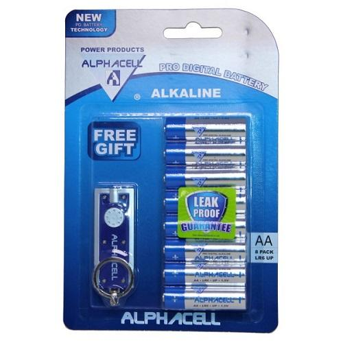 Pack of 6 Alphacell Pro Alkaline Digital Batteries - Size AA 8pc (with free gift)