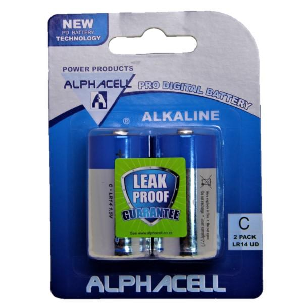 Pack of 6 Alphacell Pro Alkaline Digital Batteries - Size C 2pc