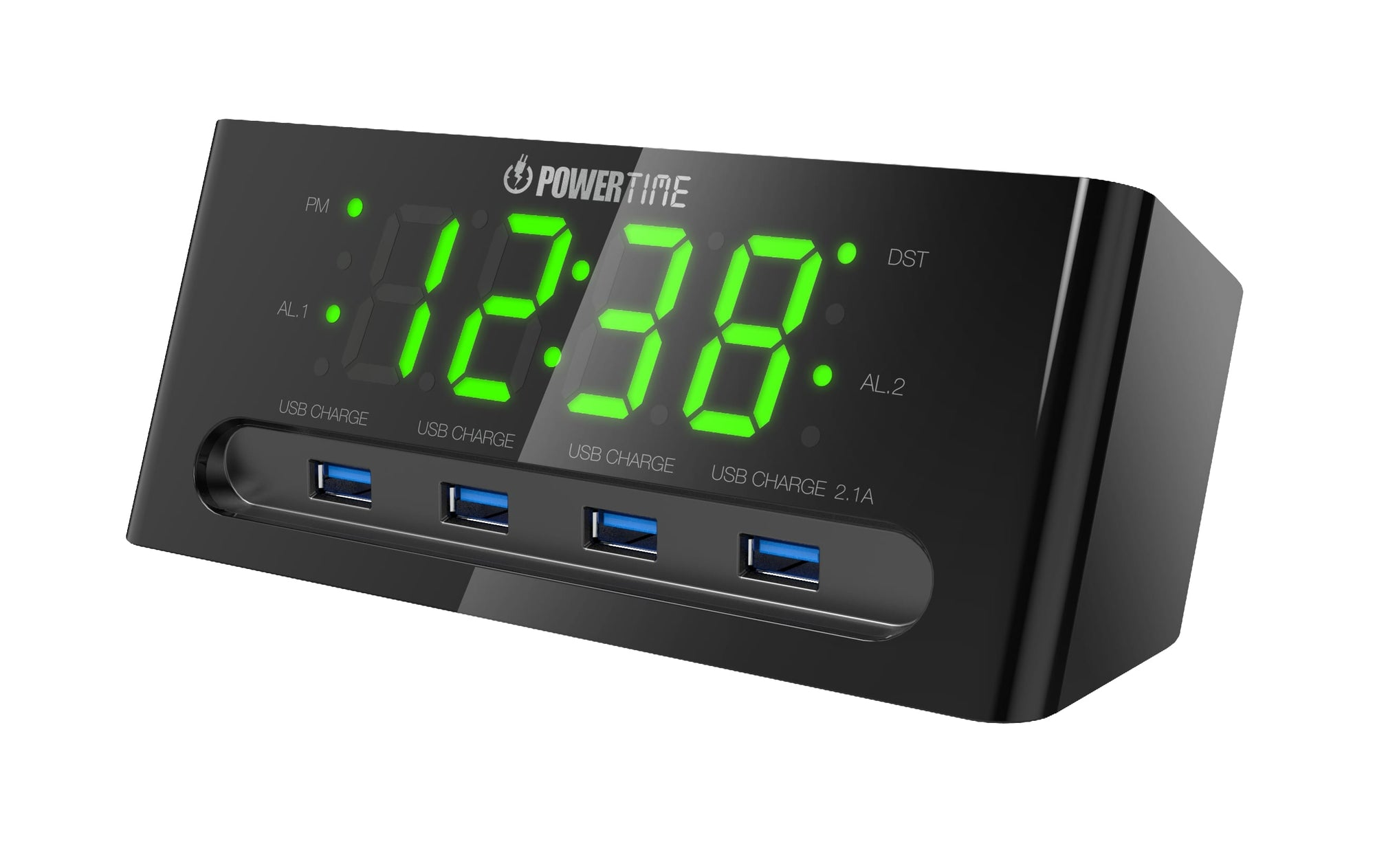 Beare Inteliset Digital Alarm Clock Wit 4 Usb Ports (Green LED) - CT24G