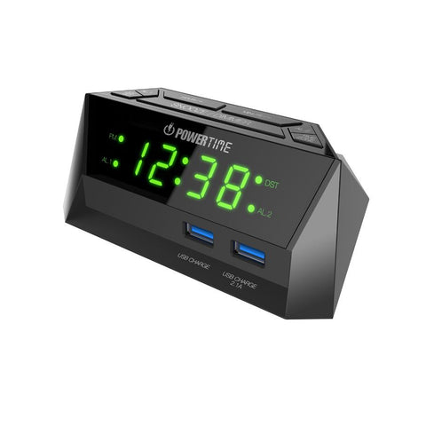 Beare Digital Alarm Clock With 2 Usb Ports  (Green LED) - CT12G