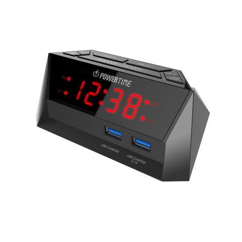 Beare Inteliset Digital Alarm Clock With 2 Usb Ports (Red LED) - CT12R