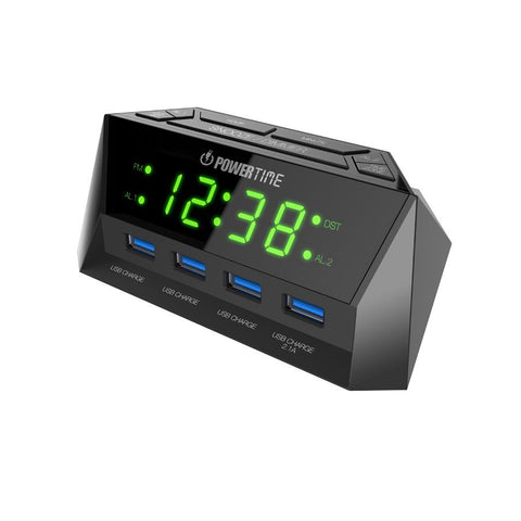 Beare  Digital Alarm Clock With 4 Usb Ports (Green LED) - CT14G