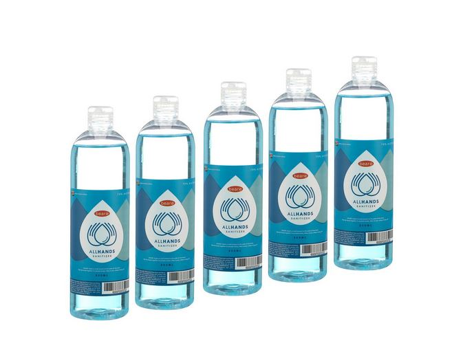 All Hands Hand Sanitizer- 70% Alcohol - 500ml x 5 Pack (2,5L Total)