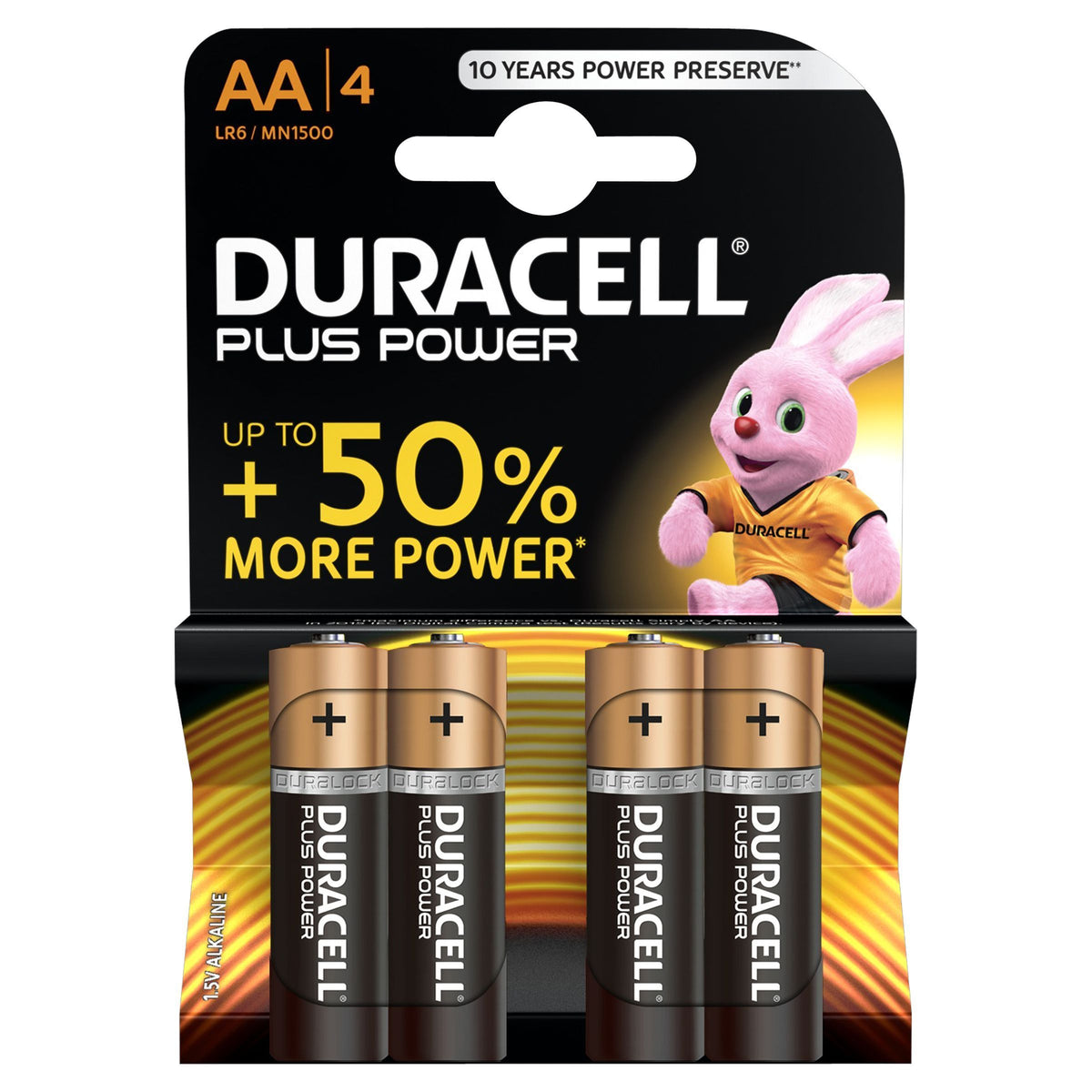 Duracell Plus Power Type AA Alkaline Batteries - Pack of 4