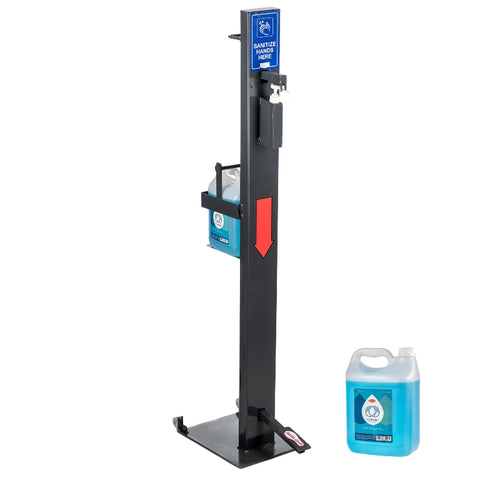 Premium Sanitizer Dispenser Stand With Foot Pump & 5 Litre Hand Sanitizer