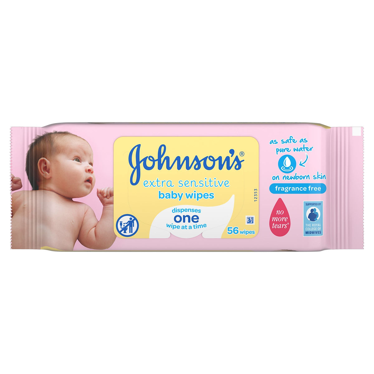Johnson's Baby Extra Sensitive Wipes - 12 Packs of 56 Wipes per Pack