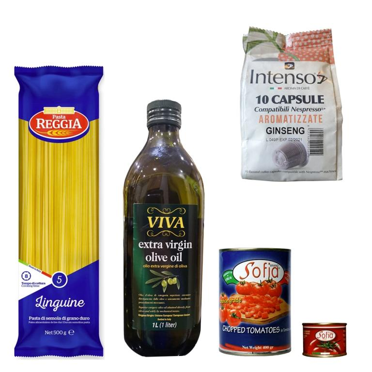 Italian Linguine, Tinned Tomatoes & Paste, Olive Oil + Free Coffee pods  Food  NextBuy