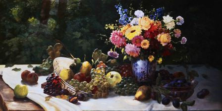Canvas Prints - Vase of Flowers & Fruit (120cm x 70cm)