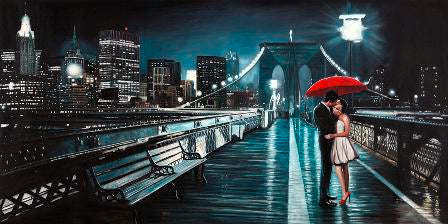 Canvas Prints - Kissing on Brooklyn Bridge (120cm x 70cm)