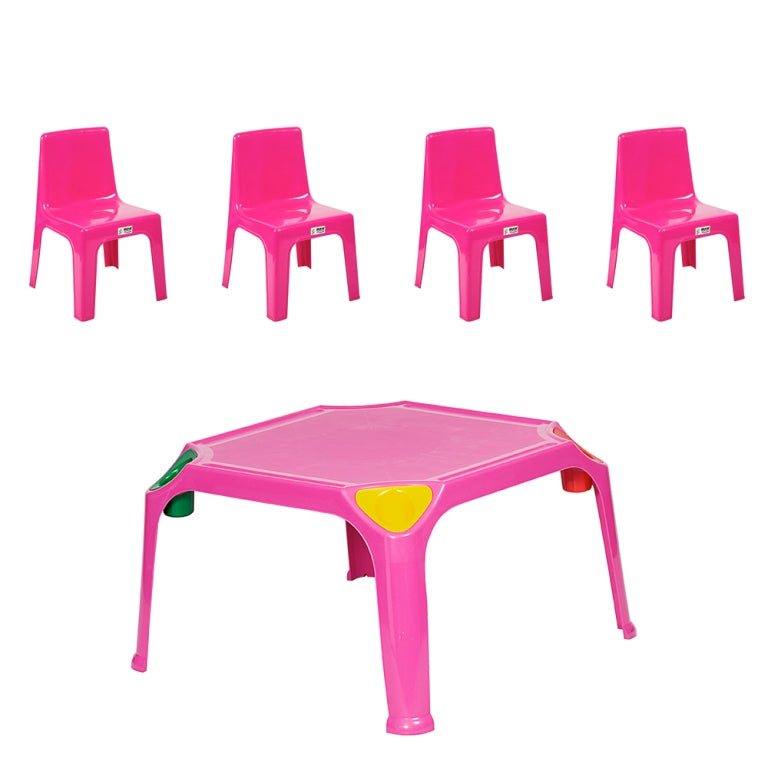 Hot Pink Kids Play Table with Bowl + 4 Chairs  Plastic Kids Table and Chairs