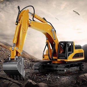 2018 New Full Functional Remote Control Excavator Construction Tractor, Excavator Toy with 2.4Ghz Transmitter and Metal Shovel