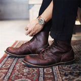 Men Vintage Genuine Leather Ankle Boots - skrchic