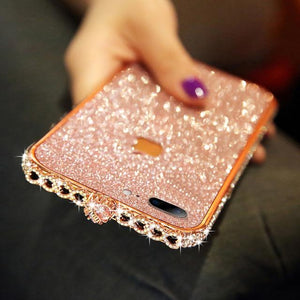 HEART-SHAPED CRYSTAL IPHONE CASE WITH GRADE A ALUMINUM FRAME