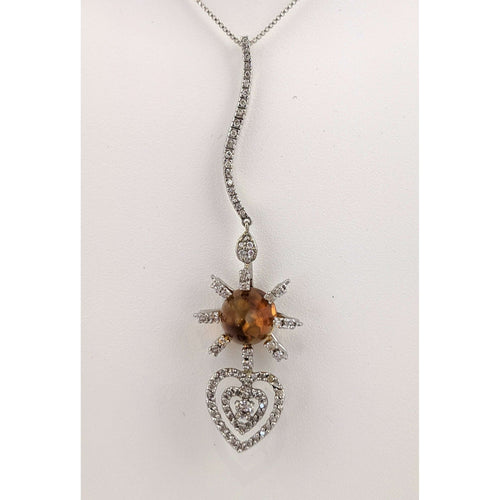 14kwg Citrine and Diamond Pendant