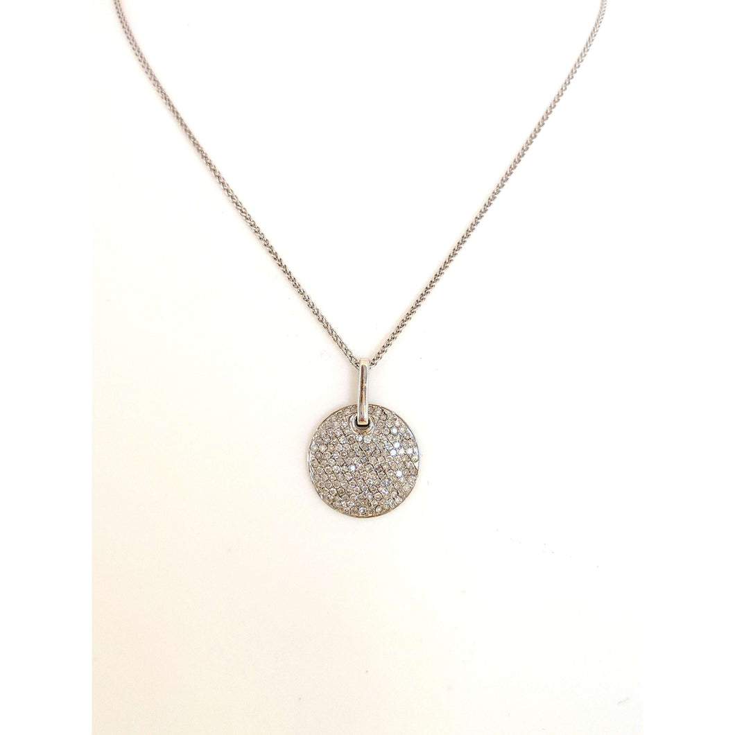 14kwg Diamond Pave Disc pendant