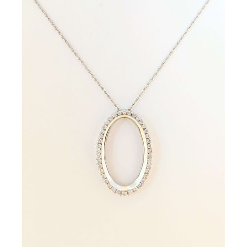 14 kwg Oval Diamond Pendant
