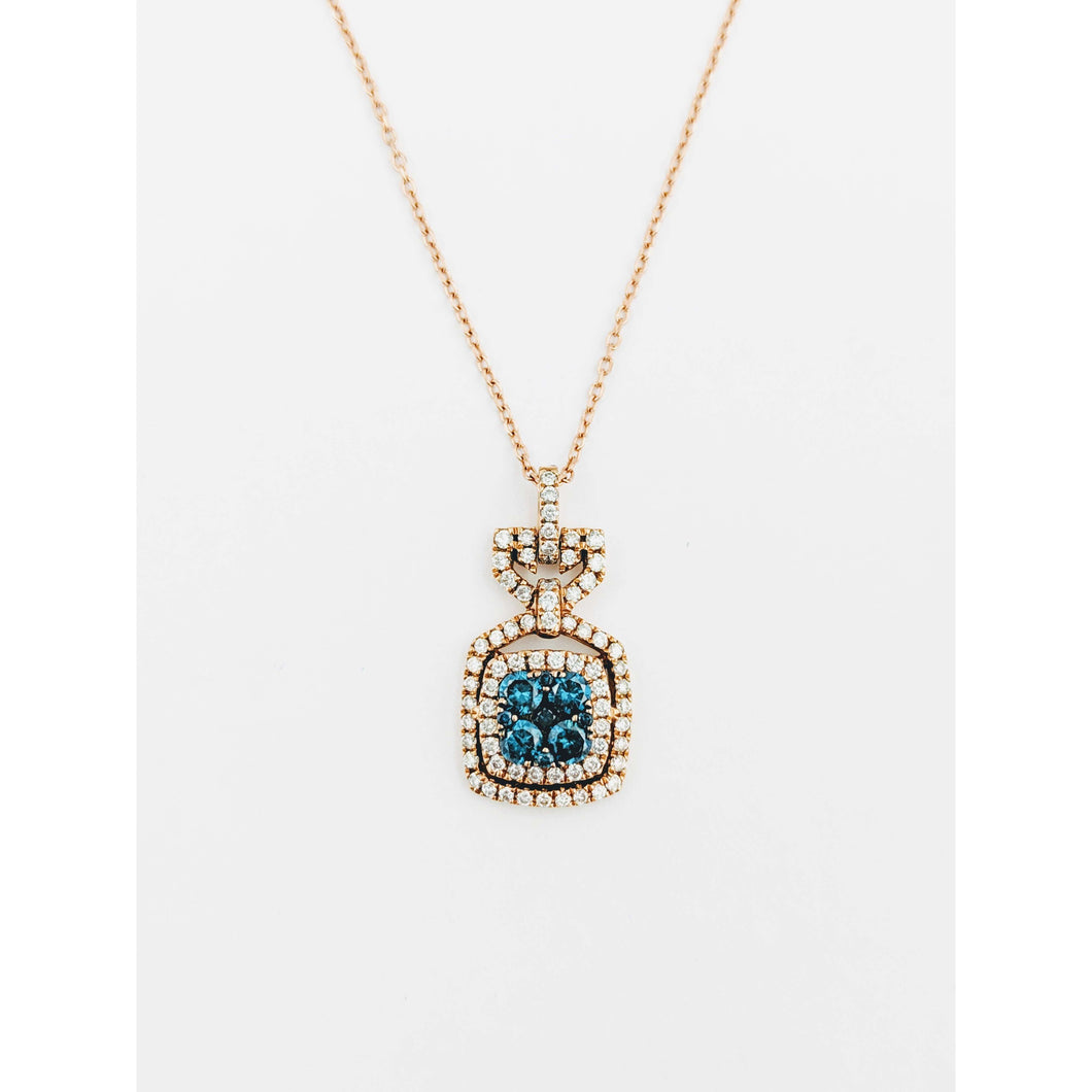 14k Rose gold Blue Diamond Pendant
