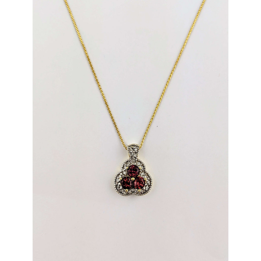 14 k T/T Garnet and Diamond Pendant