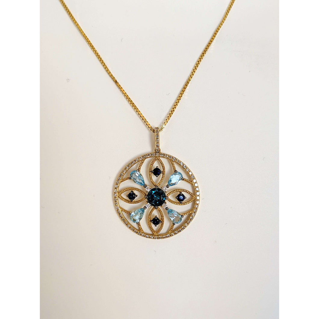14kyg Blue Topaz and Sapphire Pendant