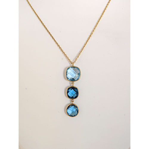 14 kyg Blue Topaz Drop Necklace