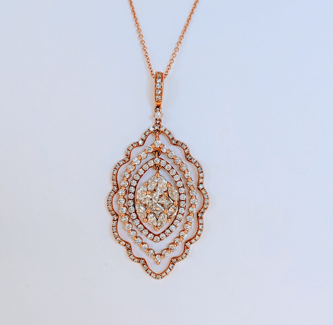 14k Rose Gold Diamond Pendant