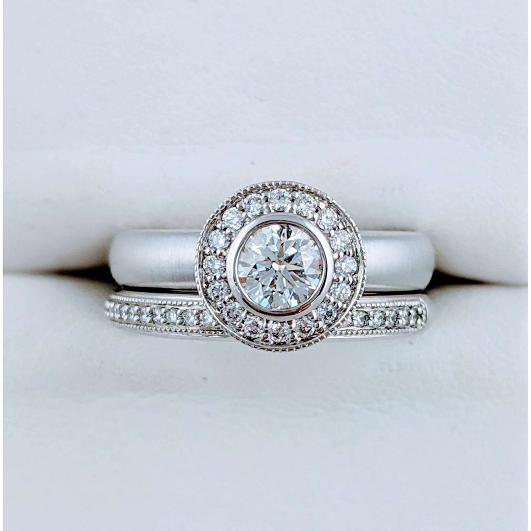 Magnificent Diamond Halo Engagement and Wedding Band
