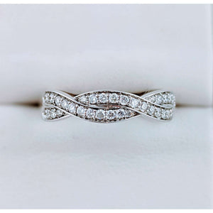 Diamond twist ladies wedding band