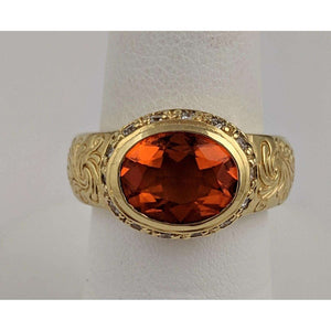 18kyg Fire Opal and Diamond Ring
