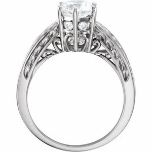 14k white gold setting for a one carat size Diamond Engagement Ring