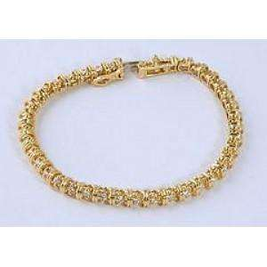 14k Yellow Gold Ladies Diamond Tennis Bracelet