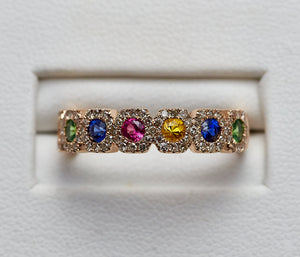 14k yellow gold multi color Sapphire with diamond ring