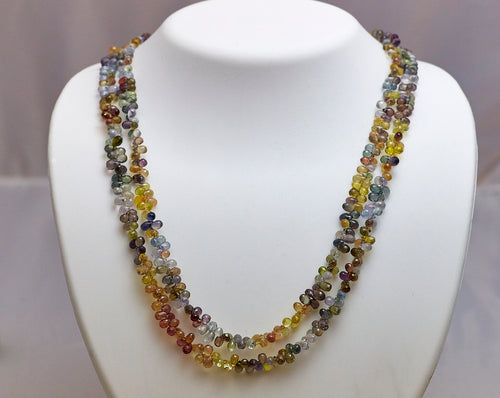 14k yellow gold multi-color Sapphire necklace