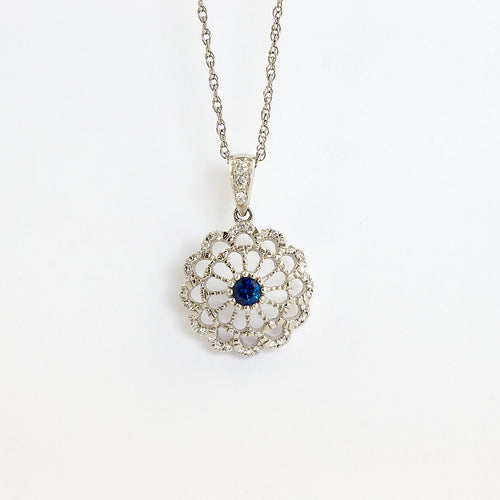 14y Sapphire and Diamond necklace