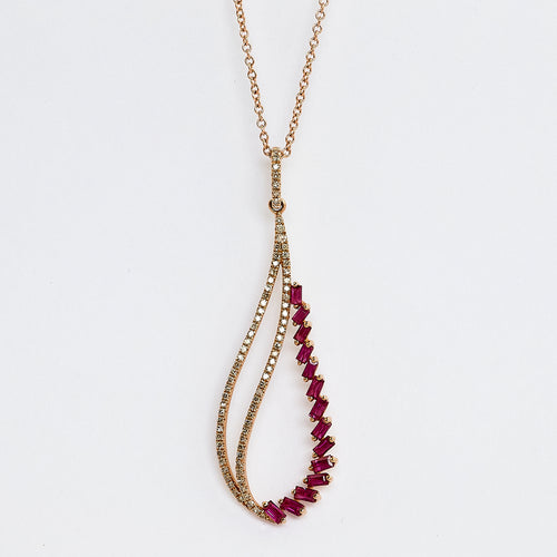 14k Rose gold Ruby and Diamond necklace