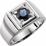 Load image into Gallery viewer, Mens 14k white gold Blue Sapphire ring