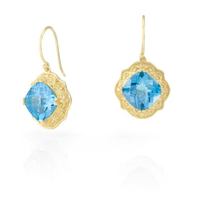 14k yellow Swiss Blue Topaz drop earrings