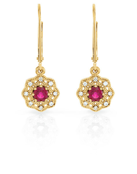 14k yellow Ruby Halo-Style earring