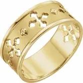 14k yellow gold Mens or Ladies Pierced Cross ring