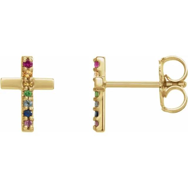 14k yellow gold Multi-Gemstone 'Rainbow' Cross earrings