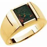Mens 14k Yellow Gold Bloodstone ring