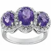 14k white gold three stone Amethyst and diamond ring